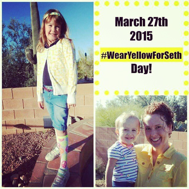 We are wearing a happy color today to support one very special guy #wearyellowforseth #happy #bekind #showlove