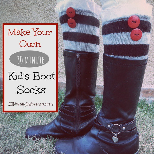 With a few bucks and in less than 30 minutes you can turn an old sweater into a cute pair of kid's boot socks. Link to tutorial in profile #kidfashion #kidstyle #DIY #fashion #upcyclingwithstyle #kidsclothes